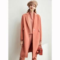 【券后价:558元】Amii赫本风毛呢羊毛双面呢大衣女2019秋冬新款黑色中长款呢子外套