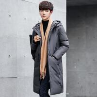 羽绒服男士中长款冬季韩版加厚青少年学生连帽休闲反季节新款大衣 灰色 M