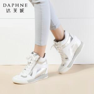 达芙妮正品女靴冬季时尚休闲运动短靴平底内增高女靴子高帮女鞋