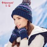 kenmont韩版羊毛提花针织手套女冬天加厚混纺五指加绒毛线手套2956