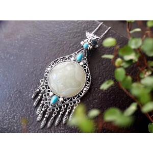 纯银镶嵌天然和田白玉莲花吊坠,吊坠规格27*27mm