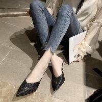 小香风半拖鞋户外时尚穆勒鞋尖头细高跟性感凉拖鞋女外穿