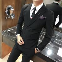 秋冬男士西服套装两件套修身条纹双排扣韩版新郎伴郎小西装婚礼
