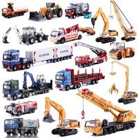 工程车挖掘机合金汽车模型消防车吊车翻斗车儿童玩具套装