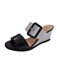 伊贝拉(YI-BELLA)新款女凉鞋百搭真皮欧美OL风格坡跟高跟橡胶底包头女鞋凉鞋 黑色