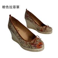 伊贝拉(YI-BELLA)新款单鞋森女高坡跟女鞋百搭混色通勤简约百搭女鞋麻底鞋单鞋