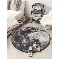 创意个性月球书房圆形地毯 客厅沙发地垫卧室吊篮电脑椅床边垫子 浅灰色 月球表面