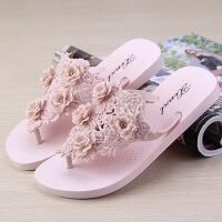 人字拖女夏季拖鞋 时尚拖鞋外穿花朵鞋沙滩鞋夹脚凉拖鞋厚底