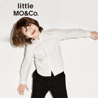 【折后价:140.7】littlemoco儿童衬衫纯色复古小立领纯棉男童衬衫长袖