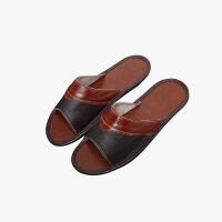 当当优品 真皮牛皮拖鞋 时尚弧形拼色 防滑牛筋底 保护地板拖鞋 居家休闲T1672(多色可选)
