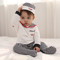 婴儿连体衣服纯棉女宝宝新生儿哈衣0-3个月长袖春秋冬装睡衣