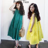 韩版童装女童连衣裙夏季18新款纯棉背心长裙中大儿童度假沙滩裙子
