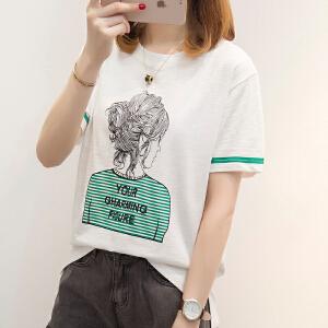 【今日下单立减100元】2018夏季新款韩版短袖T恤女卡通印花学生打底上衣衬衫