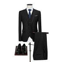西服套装男士三件套大码商务正装职业西装修身伴郎新郎结婚礼服男