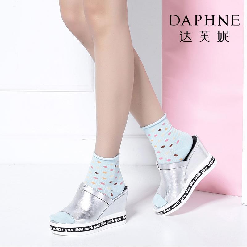 Daphne/达芙妮Vivifleurs夏超高坡跟露趾凉拖鞋-