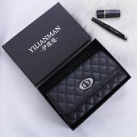 新款小方包时尚锁扣女包迷你小包小香风菱格链条包单肩斜挎包 黑色 新品*品盒