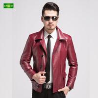 逸纯印品(EASZin)男士皮夹克 仿真水洗皮衣 中青年 短款 西装领 单排扣外套