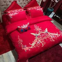 家纺婚庆四件套床单全棉刺绣喜被套新婚床品大红色结婚床上用品六件套 有凤来仪