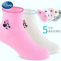 迪士尼女童袜子春秋网眼薄款3儿童小孩5短袜7非纯棉9岁女宝宝短袜