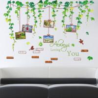 电视背景墙贴卧室客厅装饰可移除墙贴纸中国风鸟笼树枝贴绿叶藤蔓