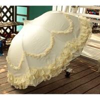 蕾丝花边太阳伞黑胶防紫外线清新晴雨伞防晒遮阳晴雨公主伞拱形伞 乳白色 宝塔伞米白色