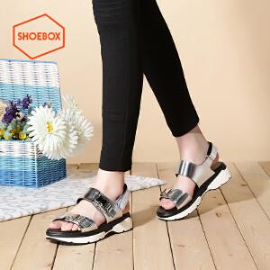 达芙妮旗下SHOEBOX/鞋柜夏款欧美金属色中跟松糕厚底凉鞋女鞋