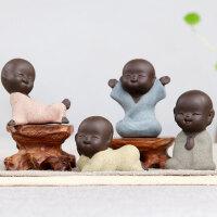 ��意新中式可�坌『蜕凶仙岸U意家居�b��k公�品茶具配件茶���[件 紫砂趣味小和尚【一套4��】