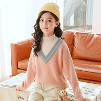 女童毛衣冬装新款加绒中大童套头高领儿童打底衫