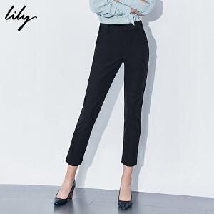 【每满200减100】Lily女装裤子百搭显瘦小脚休闲裤修身直筒九分铅笔裤117419C5923