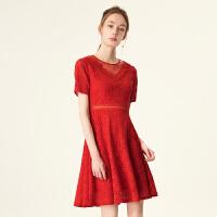 4.6到手价231丨红袖蕾丝镂空圆领短袖连衣裙