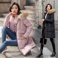 冬季外套女棉衣中长款韩版新款时尚宽松毛领加厚袄子大衣