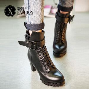 【满200减100】【毅雅】秋新品时尚皮带扣系带高跟马丁靴 粗跟女靴子YY-F7341080C