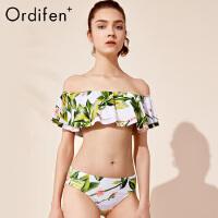 欧迪芬女士泳衣O+商场同款印花三角分体式游泳衣性感沙滩比基尼泳装PS8214