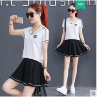 韩版大码新款时髦休闲运动衣服气质包臀裙套装女 名媛小香风两件套