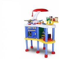 儿童过家家玩具厨房套装男女孩大号仿真煮做饭餐具厨房台 ZB-6006B乐享厨房蓝色