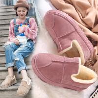 棉鞋女冬季学生面包鞋女加绒短靴百搭雪地靴女短筒平底裸靴子