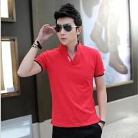 秋季男士长袖t恤男韩版潮流男装宽松大码立领修身polo打底衫体恤 红色 短袖