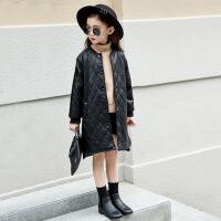 儿童装中长款小女孩夹克潮 女童皮衣外套秋冬装2017新款韩版女大童 黑