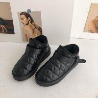 雪地靴女冬季时尚加绒学生百搭面包一脚蹬棉鞋子