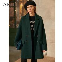 Amii�O��凸烹p排扣羊毛呢子外套2020冬新款小��子黑色毛呢大衣女