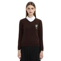 秋冬新款羊绒衫女士16秋冬款v领套头针织衫毛衣女装打底衫上衣