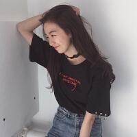 春夏女装韩版原宿风个性铁环宽松字母绣花短袖T恤打底衫上衣体恤