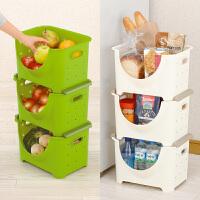 日本可叠加大容量果蔬筐收纳箱厨房宽型置物架夹缝整理储物筐