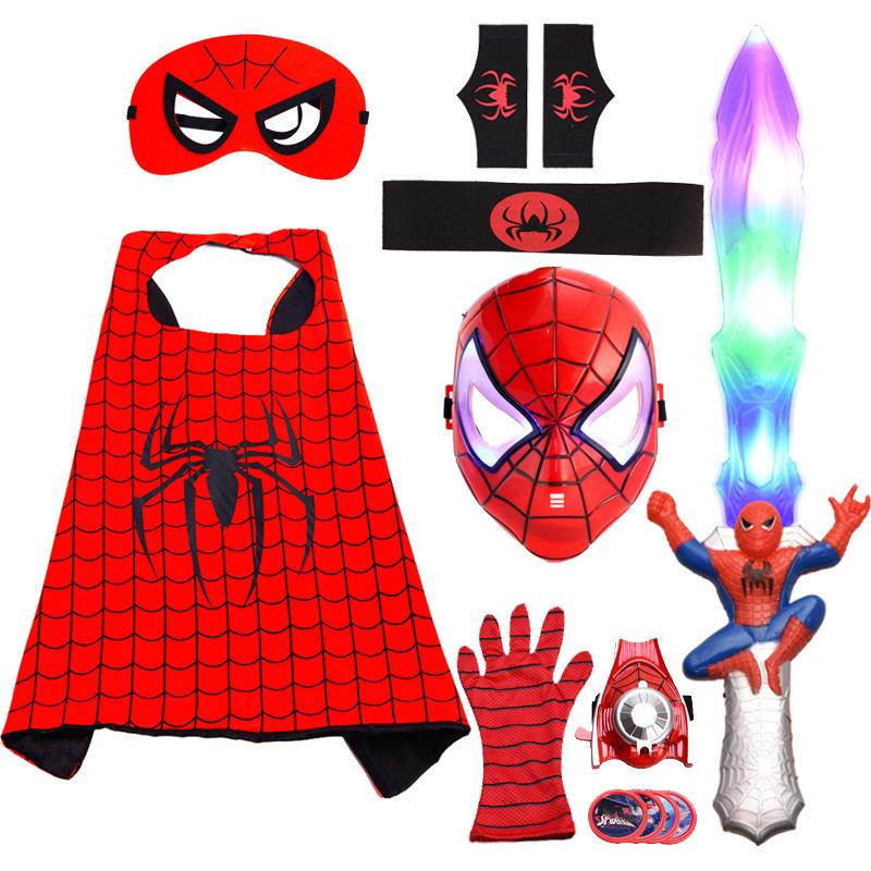 套装蜘蛛侠衣服儿童男孩万圣节儿童服装披风手套发射器面具道具