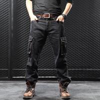 多口袋工装裤男秋季宽松直筒大码加肥加大耐磨胖子牛仔裤长裤黑色 黑色 44
