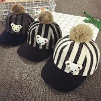 儿童鸭舌帽秋冬季毛绒棒球帽男女宝宝帽子2-4岁韩版潮大毛球保暖