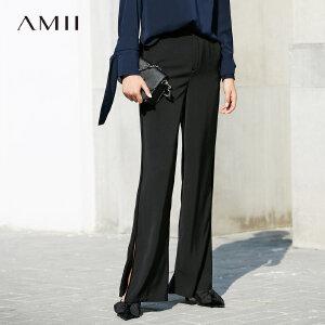 Amii极简原宿风阔腿裤女装2018秋季新款宽松开叉长裤高腰直筒裤子