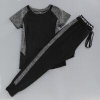 夏季健身房运动服女短袖宽松瑜伽服套装速干显瘦哈伦裤跑步服 黑短袖+黑裤子