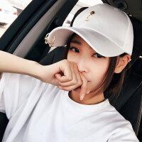 2017新款铁环帽子夏女潮百搭韩版休闲出游弯檐棒球帽纯白色鸭舌帽