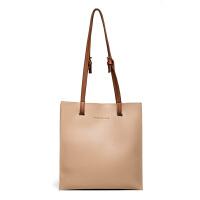女包包2018新款日韩版时尚潮托包简约百搭撞色手提包单肩包大包